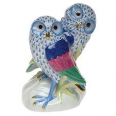 Herend Porcelain Fishnet Figurine of Burrowing Owls